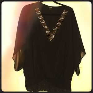 Torrid chiffon sleeve beaded top